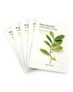 Missha Pure Source Green Tea Sheet Mask 19g x 5